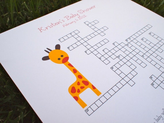 Custom Baby Shower Crossword Puzzle - Giraffe - Perfect for a baby shower or for a mother-to-be