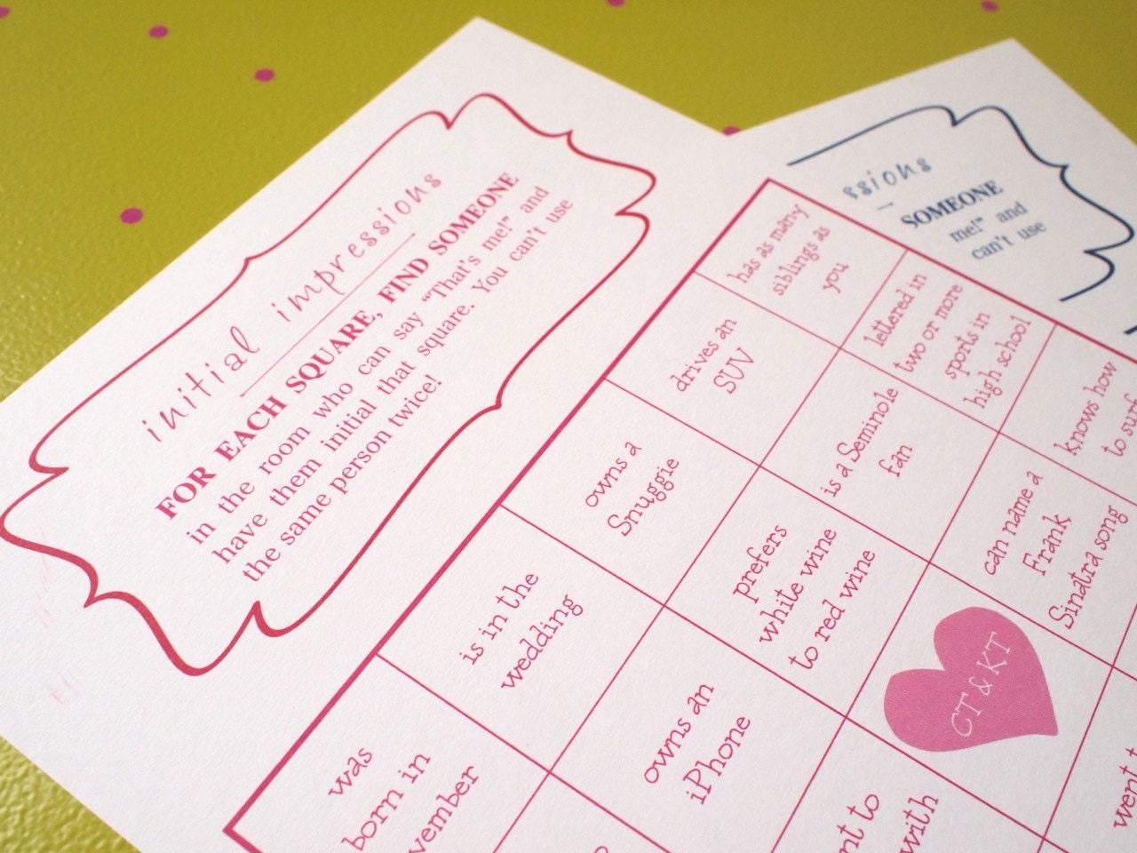 Wedding bingo game great ice breaker customized super fun