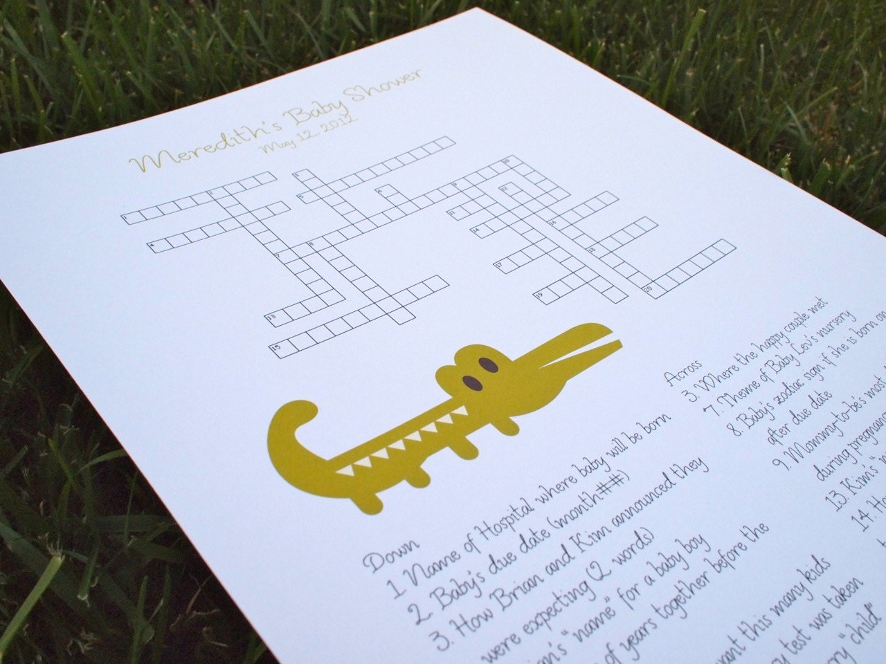 custom baby shower crossword puzzle alligator perfect for