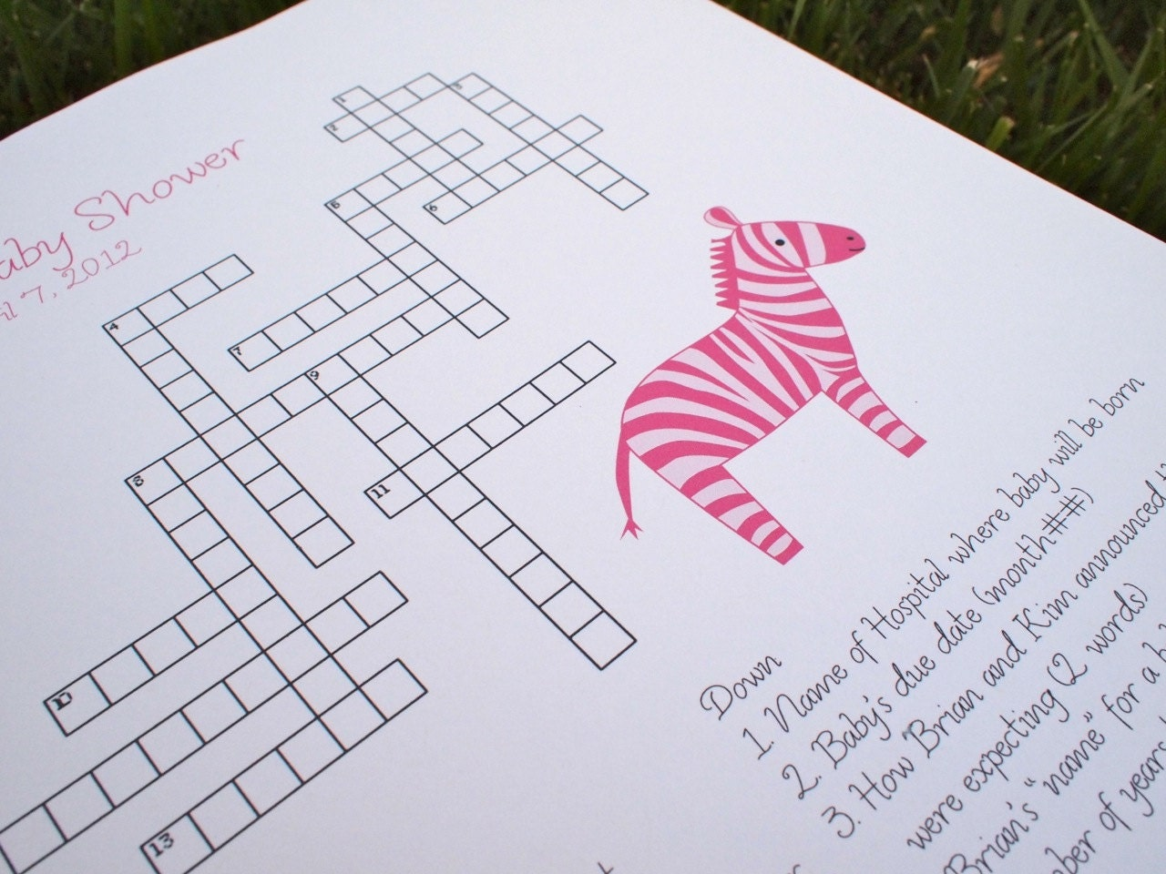 custom baby shower crossword puzzle zebra by kreativecupcake