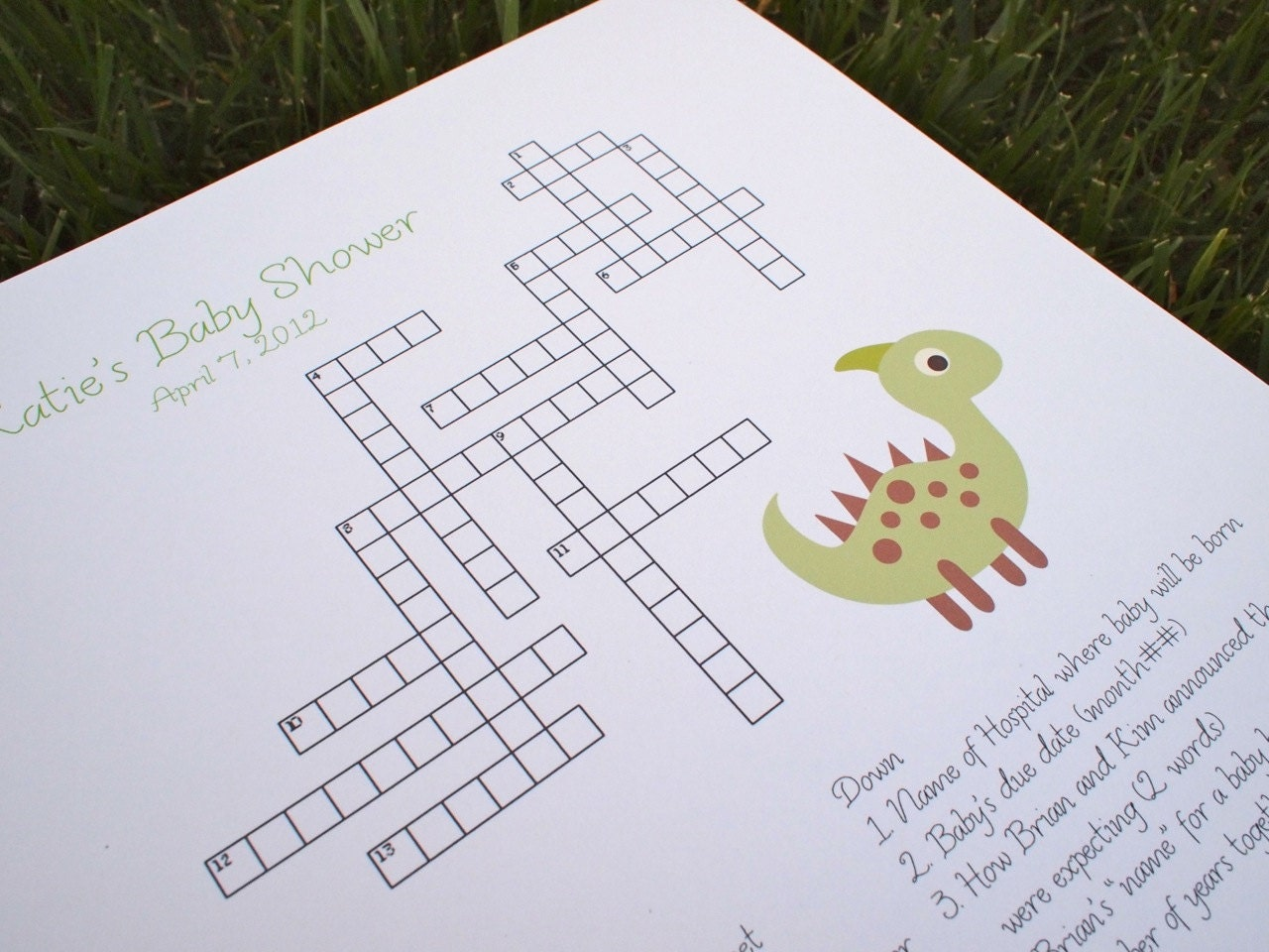 custom baby shower crossword puzzle dinosaur perfect for a