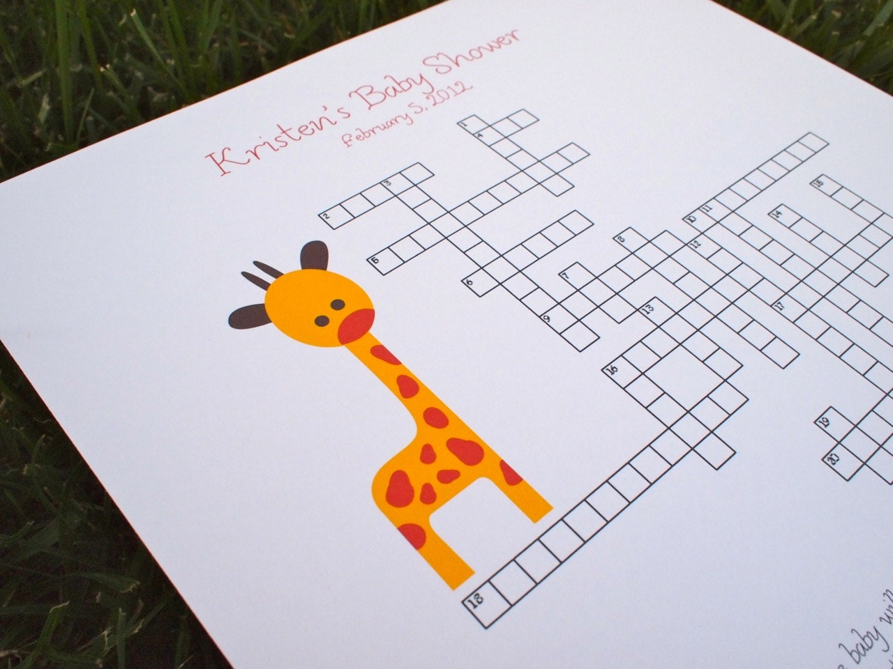 custom baby shower crossword puzzle giraffe perfect for a