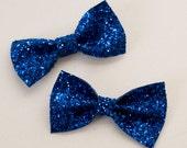 Glitter Bow Hair Bow Pair - Royal Blue