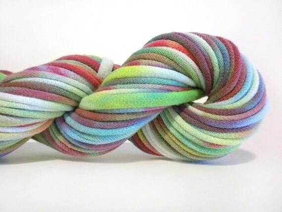 Green and Purple Tie Dye Upcycled T-Shirt Yarn (tarn), 34 yards, 6 WPI