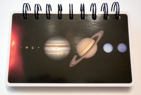 Solar System and Eris Notebook - Upcycled, Repurposed from Flash Cards
