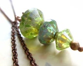 SALE-Enchanted Green Bicone Dangle Necklace