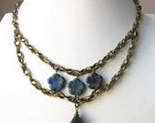 SALE - Cobalt Flower Double Layer Necklace with Dangle