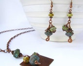 RESERVED for Joan - SALE - Enchanted Green Bicone Dangle Necklace Earrings Set