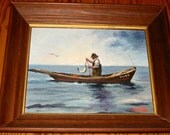 "Original Oil Painting EC TALLIA ""Fisherman"" circa 1940s"