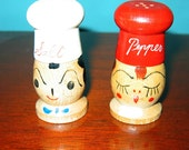VINTAGE Wooden Salt & Pepper Shakers marked NC JAPAN Excellent Condition