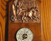 Barometer with COPPER TIN Relief Work on Solid Wood- Made in FRANCE