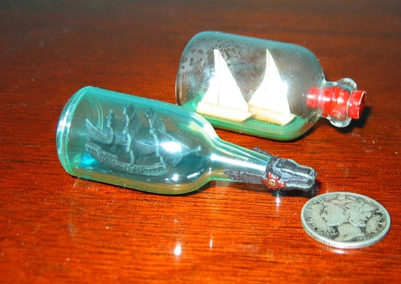 Two Ships-in-a-Bottles for One Price One ANTIQUE and One MODERN CLASSIC