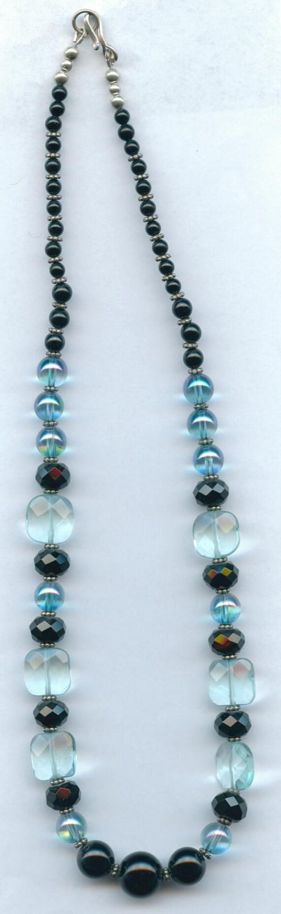 Aquamarine and Black Tourmaline Protection Necklace with  Iridescent Aqua Aura and Onyx Beads