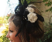 Holiday PEACOCK  FEATHERS headpiece, New Years Eve.  Hair Accessories by LasVegasVeils