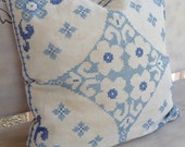 Vintage Blue Cross Stitch Down Throw Pillow
