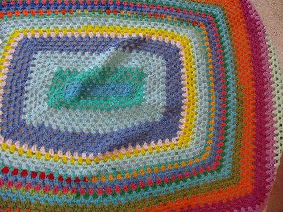 Funky Retro Rainbow Variegated Afghan
