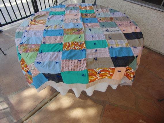 Charming Vintage Patchwork Quilt with Denim Backing