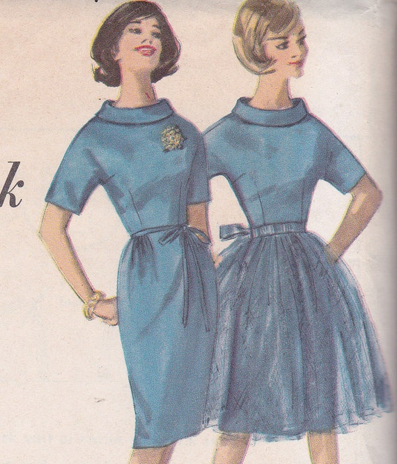 60's Sewing Pattern Simplicity 4125 Miss Dress Kimono Sleeves Wiggle Skirt Tunic Overskirt Jacket Size 12 Bust 32 Complete