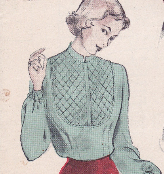 50's Sewing Pattern Butterick 5124 Miss Soft Tailored Blouse Distinctive Bib Yoke Quilted Size 14 Bust 32 Complete