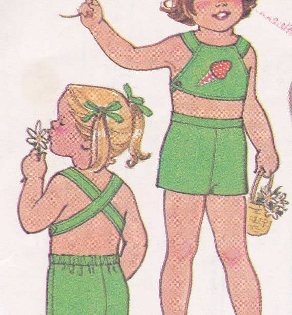 70's Sewing Pattern Simplicity 7502 Toddler Girl Halter top pants short Size 1 Breast 20
