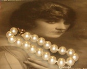 """Vintage Pearl Bracelet with Latch, 1960's, 8""""L, Knotted Between Pearls"""