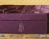 Vintage Purple Grape Satin Jewelry Box w Glass Bead Tassel Handle, Pocket and Insert Inside
