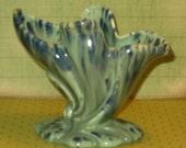 "Reserved for Barbie, Green Mottled Vase, Freeform, Rockingham Swirl Style, 6.5""W x 5 1/4""H, Pottery, 1950's or Earlier"