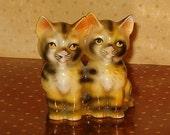 "Vintage Kitten Figurine, Two Yellow Kittens w Black Stripes, Ceramic, Marked Japan, 1930's, 3.25""H"
