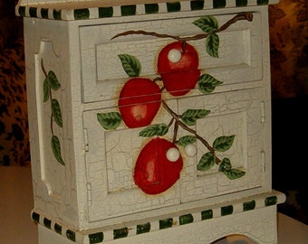 "Vintage Apple Cabinet, Wood w Crackle Paint 11""H"