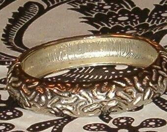 Vintage Bangle Bracelet, Steel w Squiggle Design, Spring Closure