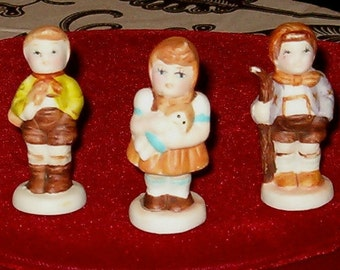 "Vintage 3 German Children Figures, Porcelain 2 3/8""H"