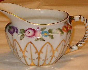 "Cream Pitcher, Royal Danube Colorful Porcelain 5 5/8""W x 3.5""H"