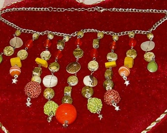 "Vintage Necklace, Stones, Shells, Beads, Green & Orange, Drops to 5 5/8""L, 16""Long"