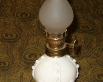 "Vintage Miniature Oil Lamp, 1950's or Earlier, 4 3/4""H, Milkglass w Satin Glass Shade"