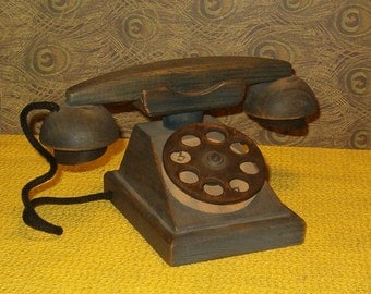 """Vintage Folk Art Wooden Telephone, 7""""W, Moveable Receiver, Cord, 1980's"""