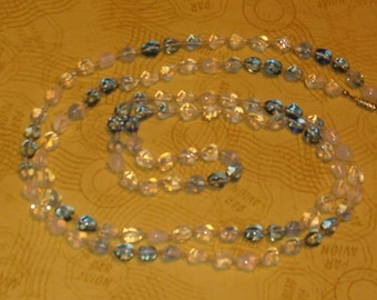 """Necklace, Vintage Blue, White & Opalescent Beads, Variety Shapes, 50""""L, 1950's or Earlier"""