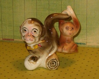 """Vintage Salt & Pepper Shakers, Monkey Mother w Baby Hanging on Mom's Tail, Japan 1940's, Corks, 4""""H,"""