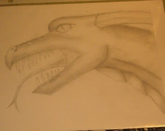 Camille's Dragon Art, Head Drawing, Mouth Open, Pencil, Print, 2012, Initialed