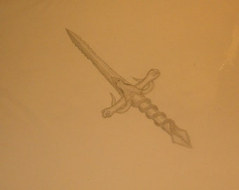 Camille's Sword of the Dragon Slayer Art, Pencil Drawing, Print, 2012, Detailed Work, Initialed