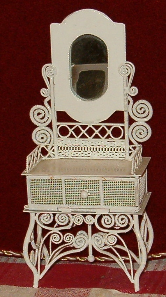 "Vintage Miniature Wicker Cabinet, Ornate Twisted Metal, Mirror 7""H"