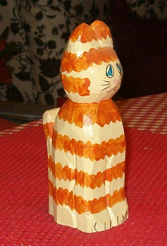 "Vintage Wood Cat Figurine, Yellow Striped Carved Cat, 5.75""H, 1970's"