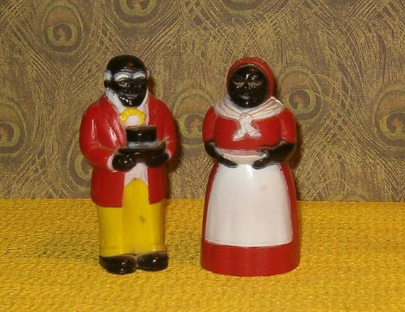 "Vintage Mammy and Pappy Salt & Pepper Set, Miss Martha, 1980's, 3 1/2""H Vintage Plastic"