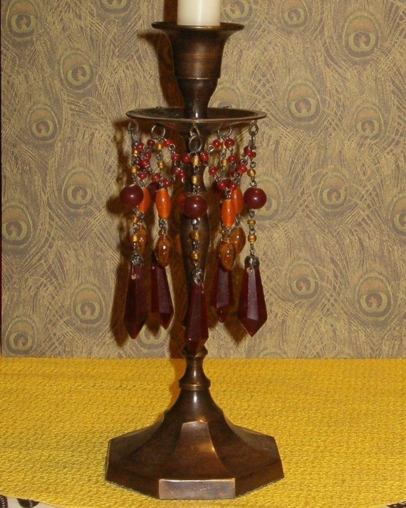 """Vintage Bronzed Metal Candle Stick w Lovely Hanging Beads & Crystals 9""""H, 1970's"""