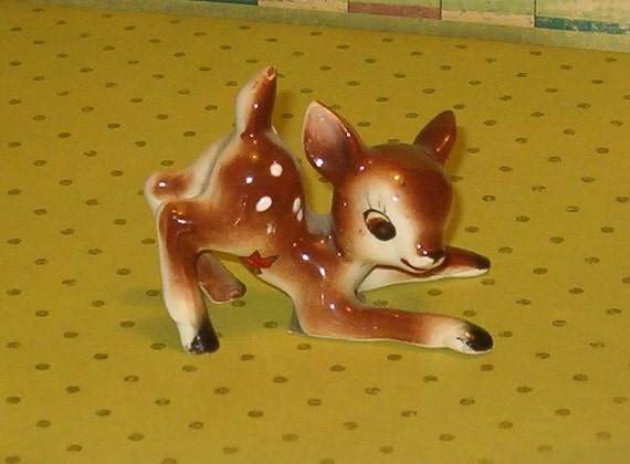 "Vintage Baby Deer Fawn Figurine, Japan, Raised Dot Detail on Back, 3""L, Pottery, Sweet"