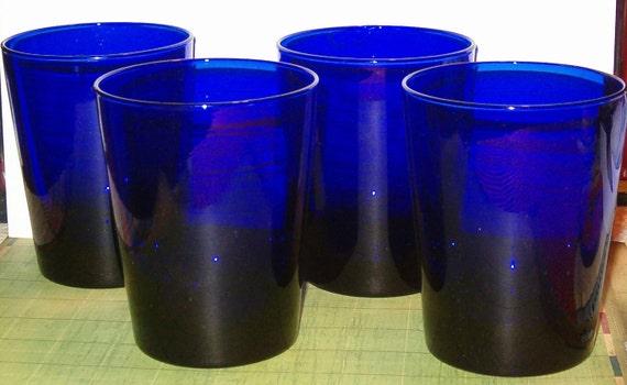 "Vintage Cobalt Blue Tumblers, Set of 4, Deep Blue, 4.5""H, 3.5""W, Thick Glass, Sturdy Design, 1970's or Earlier"