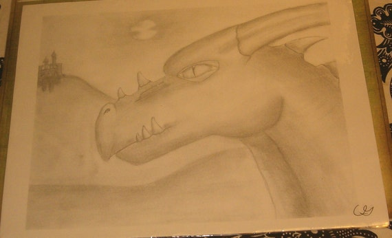 """Camille's Wonderful Head of the Dragon, Mouth Closed, Pencil Drawing, Print, 8.5"""" x 11"""", Very Detailed"""