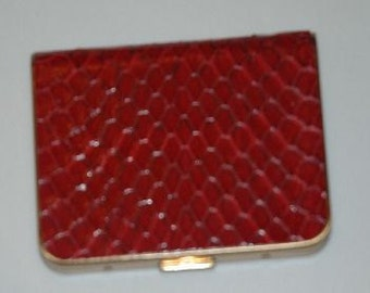 Vintage Genuine Cobra Skin Compact in Red by Wadsworth - FREE SHIPPING