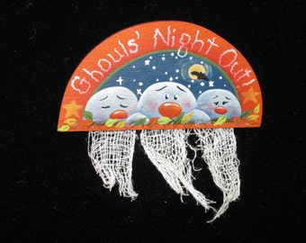Ghoul's Night Out -- Ghostly Pin (Hand Painted Wood)