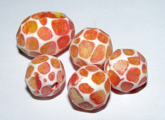 Set of 5 Polymer Clay Distressed Facteded Beads Orange Yellow Including Focal