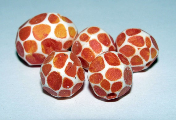 Set of 5 Polymer Clay Distressed Facteded Beads Tangerine Orange Red